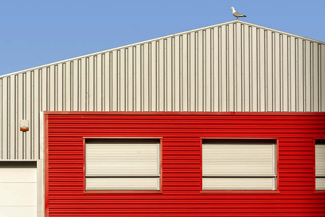 Red and grey building and a gull