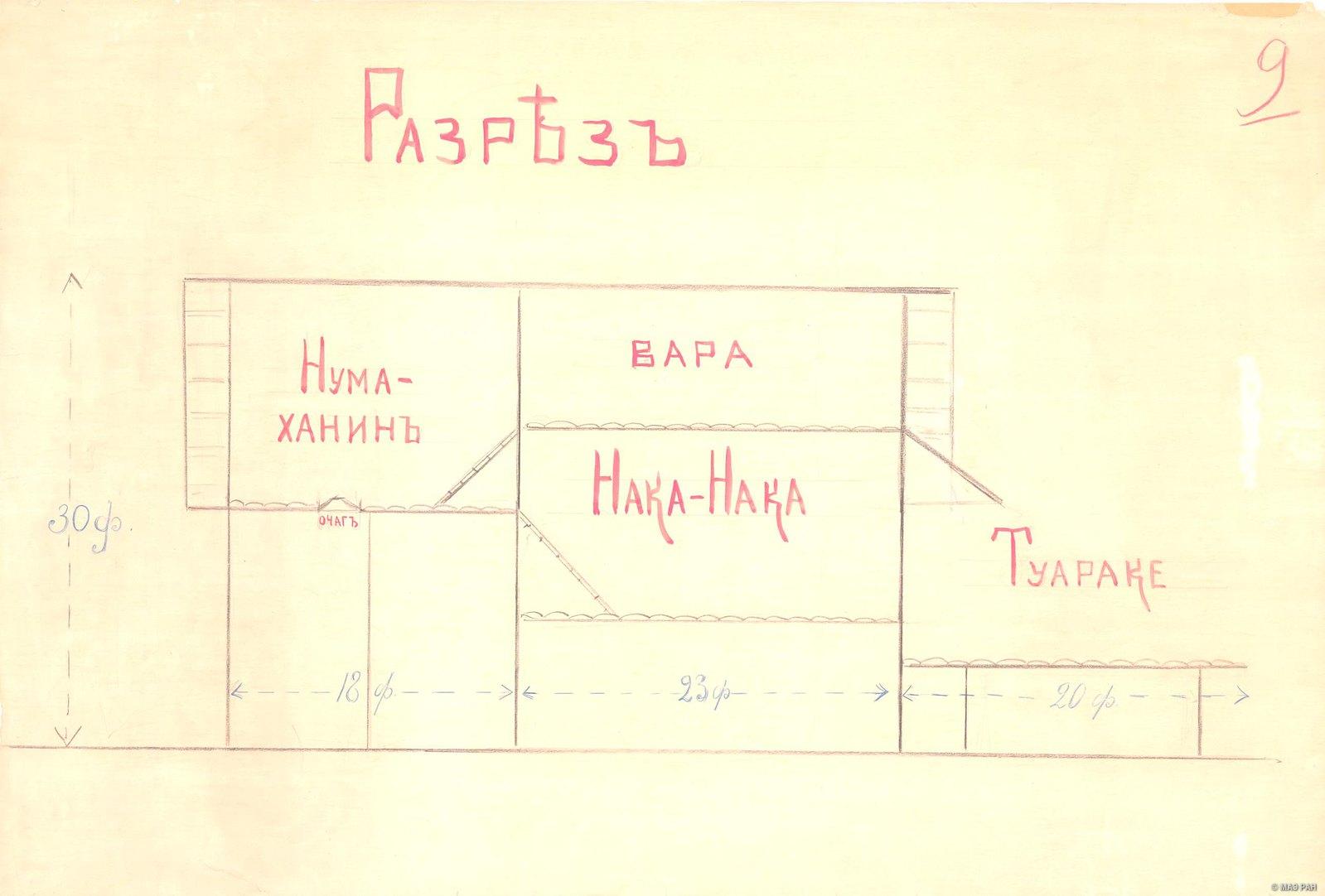 1880-е. Чертеж дома в разрезе. Папуасы Новой Гвинеи.