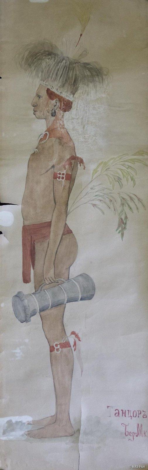 1880-е. Участник обрядовой пляски. Папуасы Новой Гвинеи.