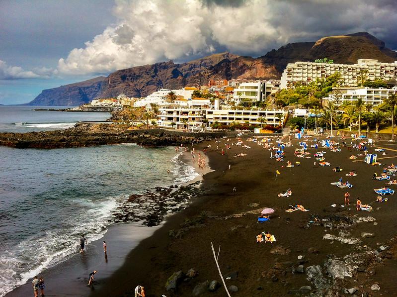 Black volcanic sand of playa de la Arena