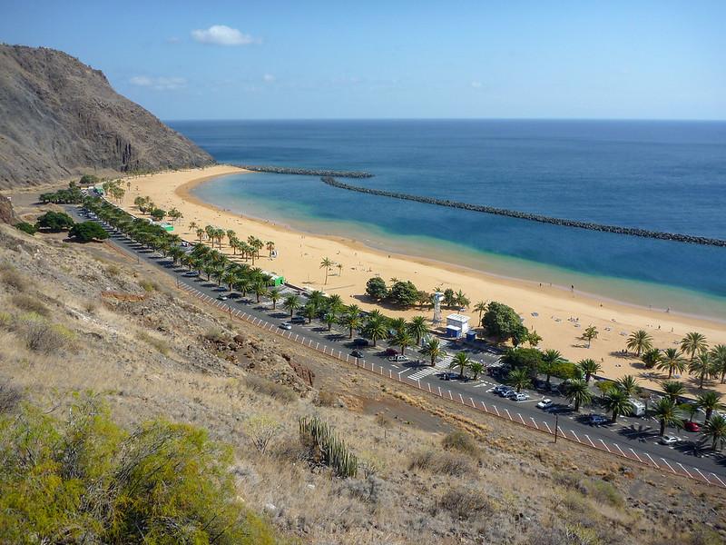 Beautiful stip of sand of Playa Teresitas