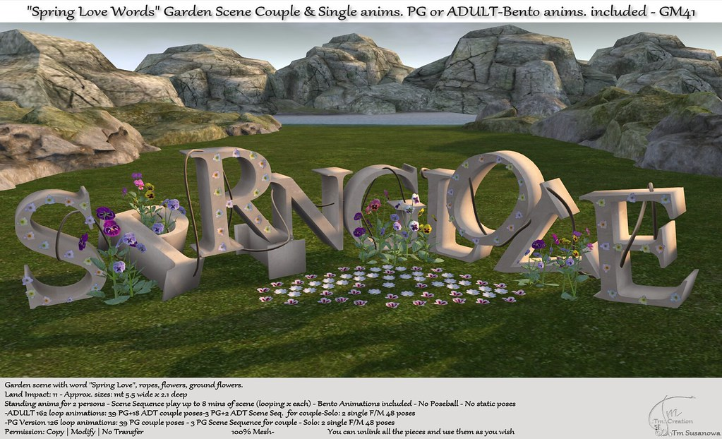 ".:Tm:.Creation ""Spring Love Words"" Garden Scene with anims. GM41"