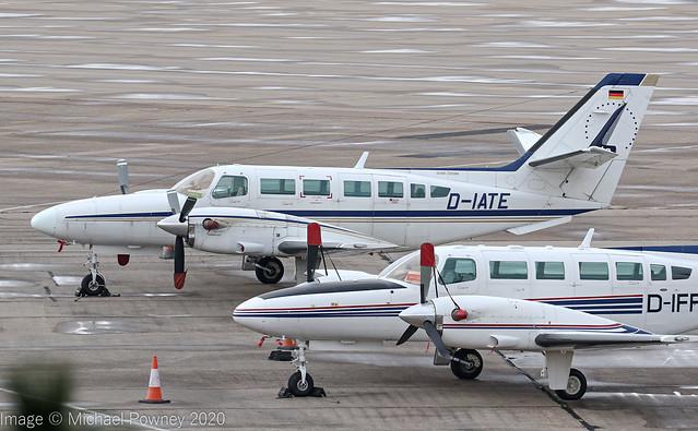 D-IATE - 1986 Reims built Cessna F406 Caravan II, on the Elmdon apron at Birmingham