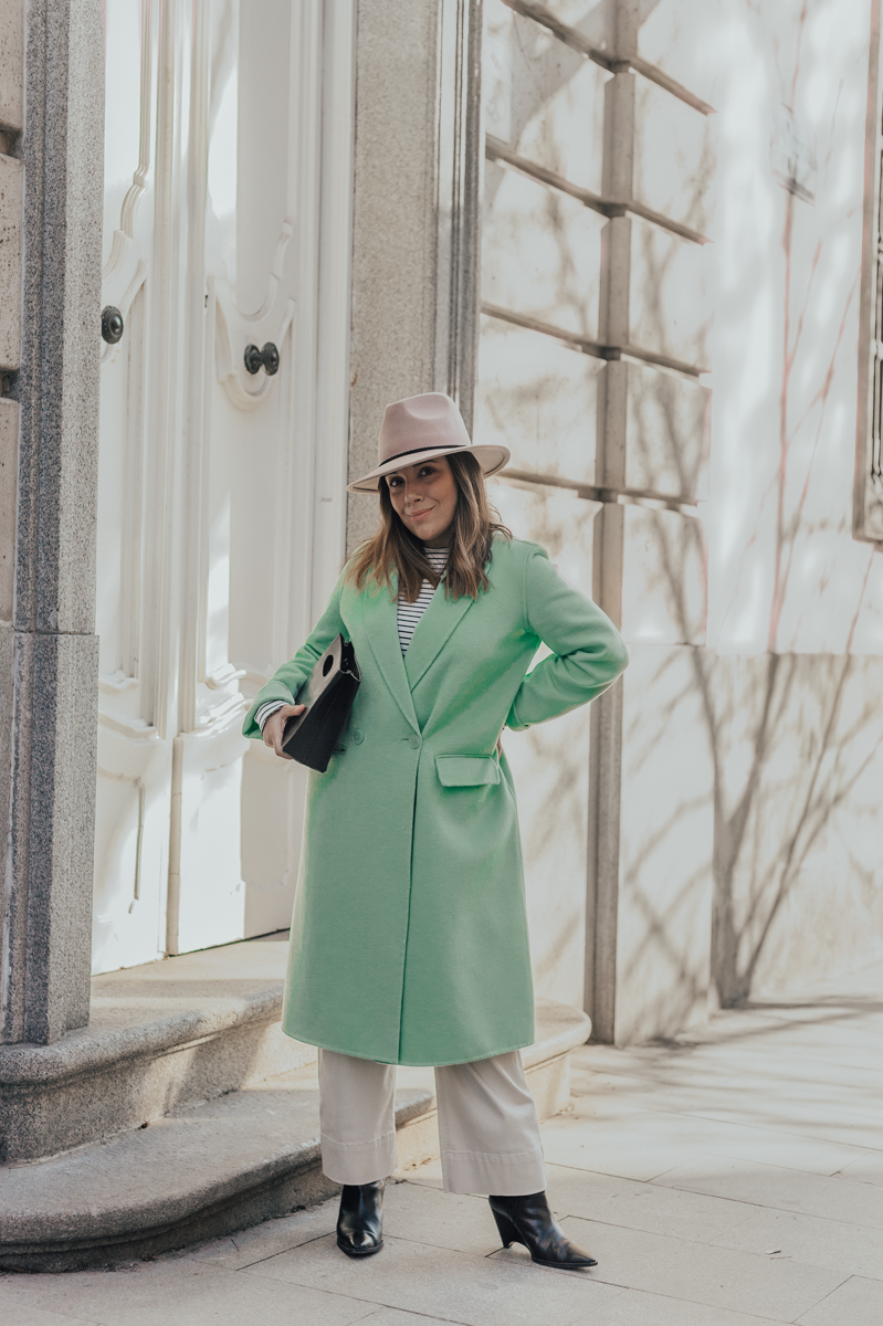 pastel green coat look