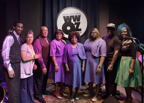 New Orleans Spiritualettes and WWOZ's KaTrina Griffin at WWOZ - March 8, 2020. Photo by Michael White.