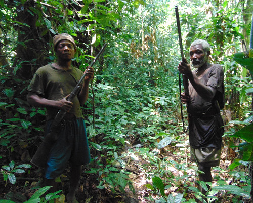 meeting and interviewing hunters in the forest
