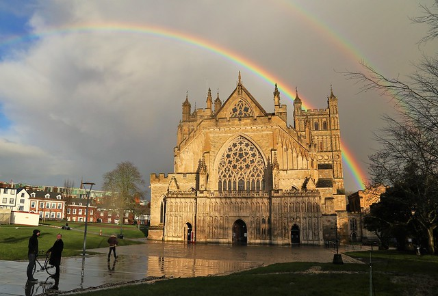 Rainbow over Exeter Cathedral
