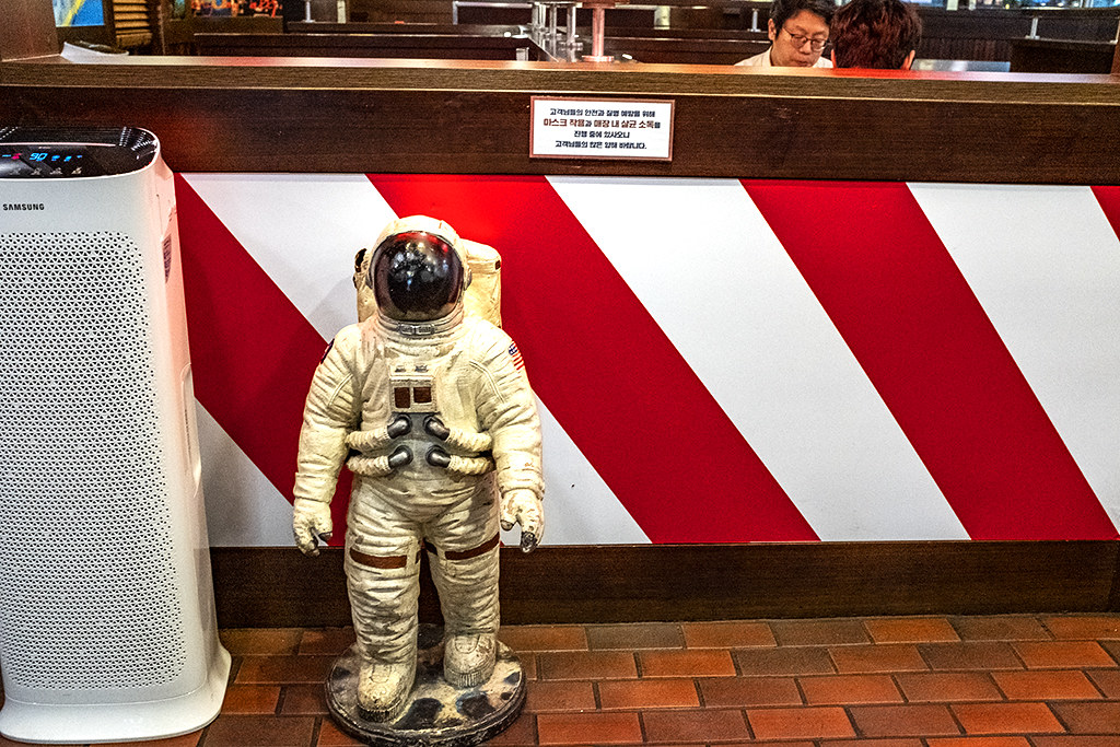 Toddler sized Apollo astronaut at TGI Fridays in Yeongdeungpo-dong--Seoul