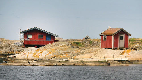 Island with red houses at Gronemad is a small town along the Bohuslän Coast of Sweden