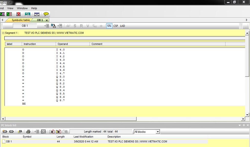 Chương trình được viết bằng ngôn ngữ STL trên phần mềm S57 for Windows
