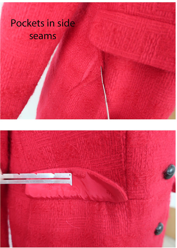 Red coat side seam pockets
