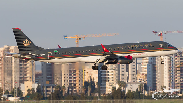 TLV - Royal Jordanian Embraer 195 JY-EMA