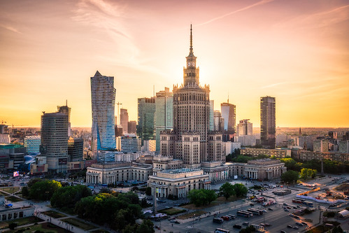 warsaw poland sunset cityscape skyline summer europe travel skyscrapers city architecture buildings discover