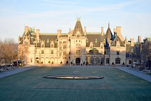biltmoreestate biltmore mansion lawn fountain sky sunrise road house building vanderbilt lowresolutionversion ncmountainman biltmorehouse architecture classic trees clouds