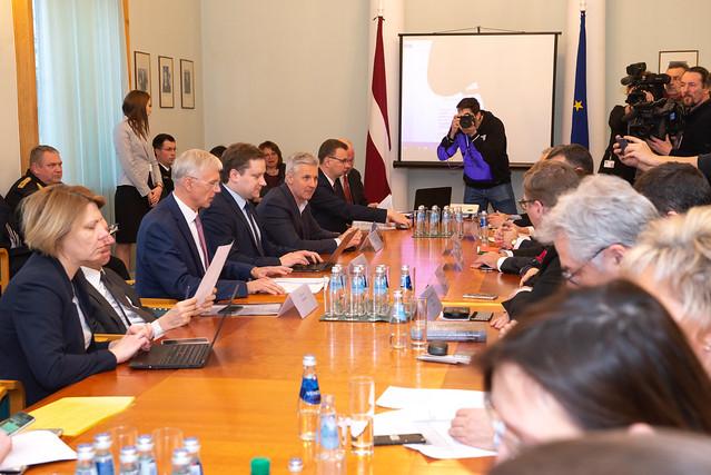 09.03.2020. Ministru prezidents Krišjānis Kariņš vada Krīzes vadības padomes sēdi
