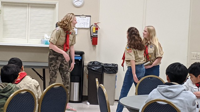 2020-03-02 Patrol skits at regular Monday meeting