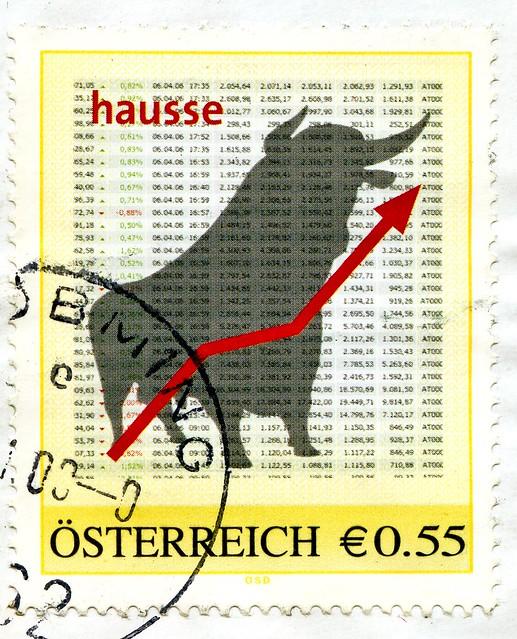 *hope* stamp Austria 55c stock exchange bullish (Börse hausse, Bourse, Borsa, Χρηματιστήριο, 证券交易所, Bolsa de valores, 証券取引所, фондовая биржа, børs, 증권 거래소, börs) timbre Autriche selo sello francobollo Austria postzegel Oostenrijk طوابع النمسا frimærker