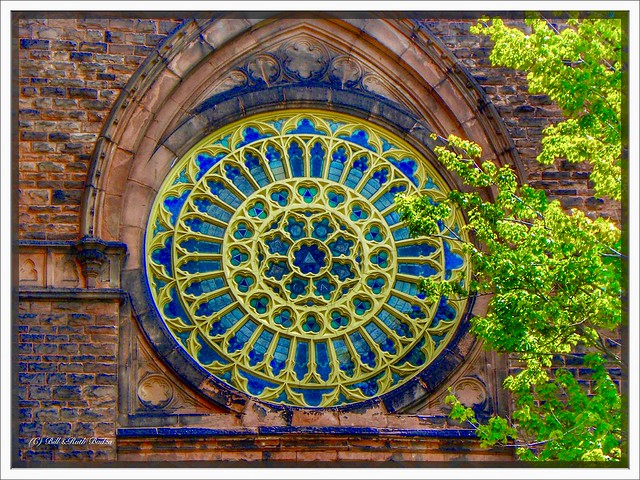 Buffalo - New York  - Trinity Episcopal Church - Historic - 371 Delaware Ave - Stain Glass Rose Windows