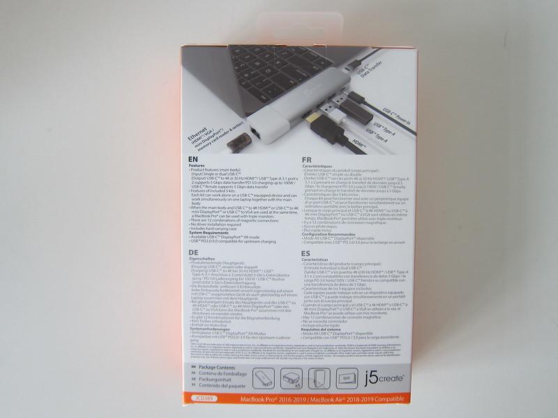 j5create UltraDrive Kit USB-C Multi-Display Modular Dock (JCD389) - Box Back
