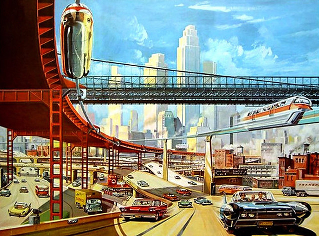 Welcome to the future of New York City, 1960s style! Massive cars dominate the highways while monorails transport passengers from downtown to JFK airport. The old Manhattan Bridge crosses overhead. No traffic jams in this world of engineered perfection.