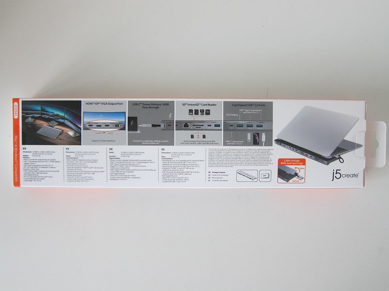 j5create USB-C Triple Display Docking Station (JCD543) - Box Back