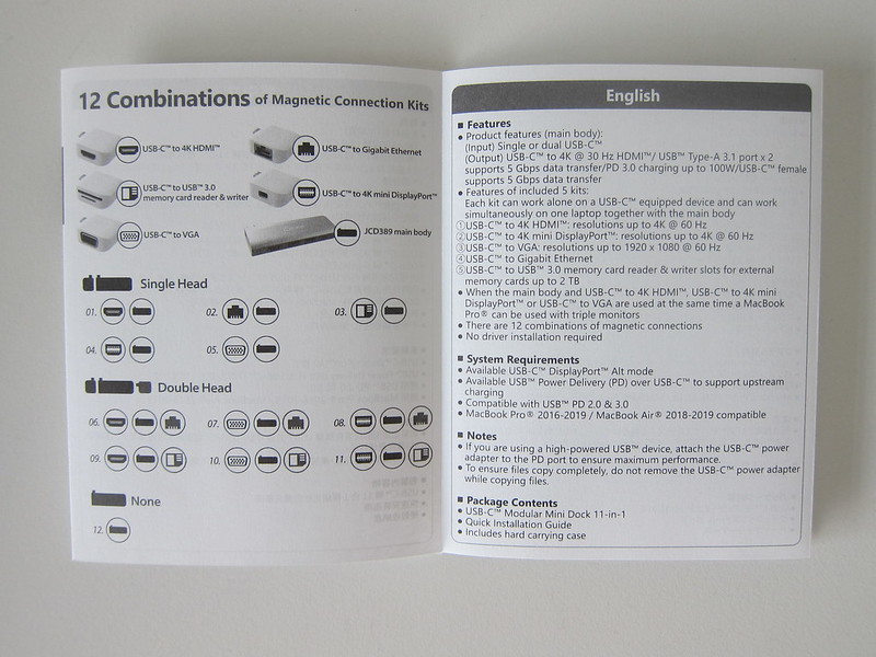 j5create UltraDrive Kit USB-C Multi-Display Modular Dock (JCD389) - Instructions