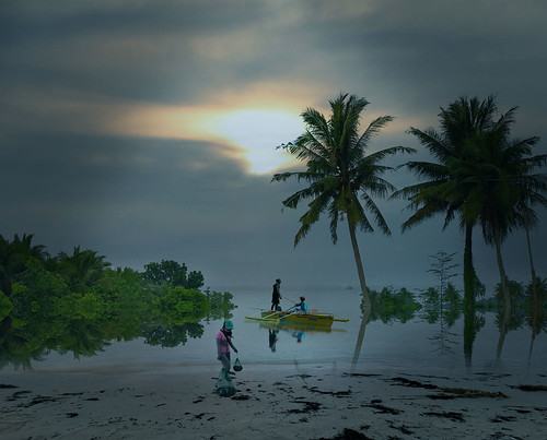 sunrise morning beach people fisherman coconuttrees sandybeach