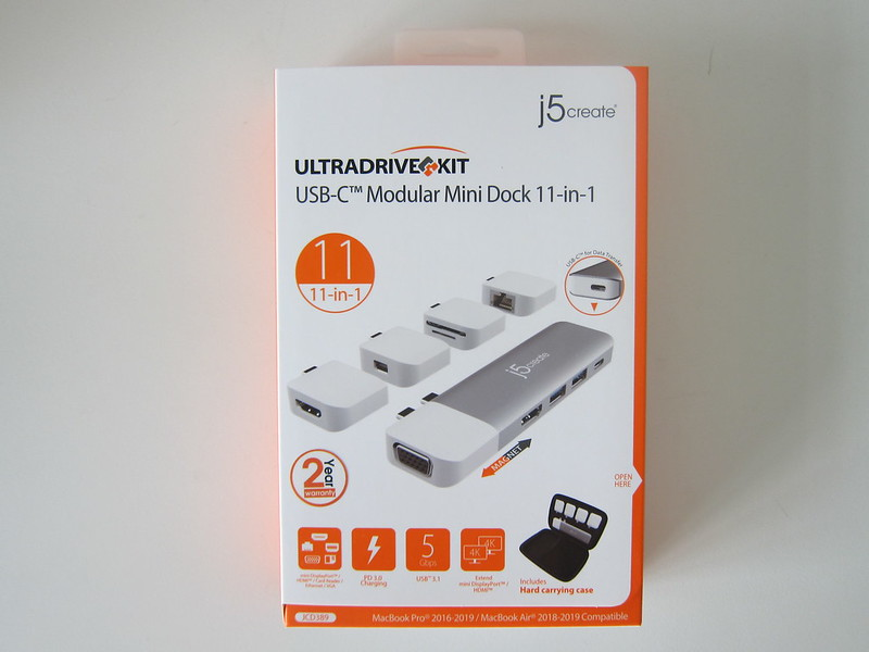 j5create UltraDrive Kit USB-C Multi-Display Modular Dock (JCD389) - Box Front