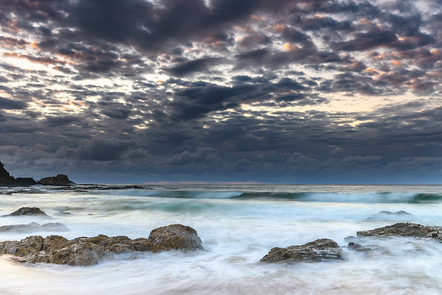 Clouds and Surf - Sunrise at Malua Bay