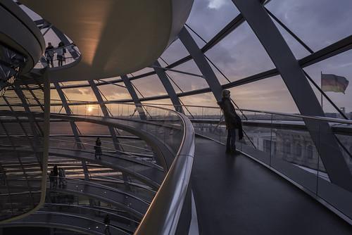berin reichstag kuppel parlament bundestag glaskuppel sunset sonnenuntergang