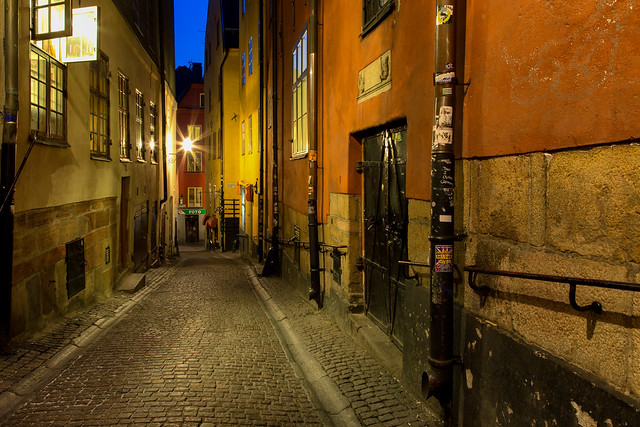 Empty street at night / Gamla Stan / Sweden