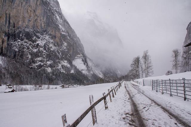 Lauterbrunnen's road under snow.