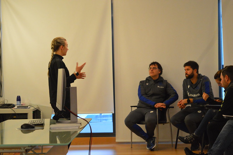 Day 4 | LFE Project Officer Kelly Butterworth introduces herself to Real Sociedad staff