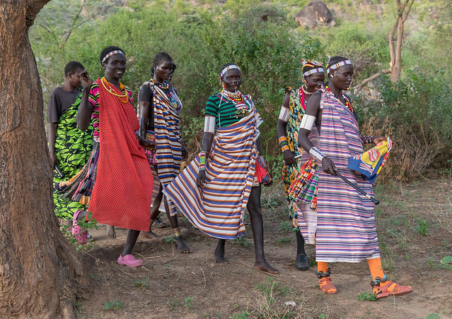 Larim tribe women during a wedding ceremony, Boya Mountains, Imatong, South Sudan