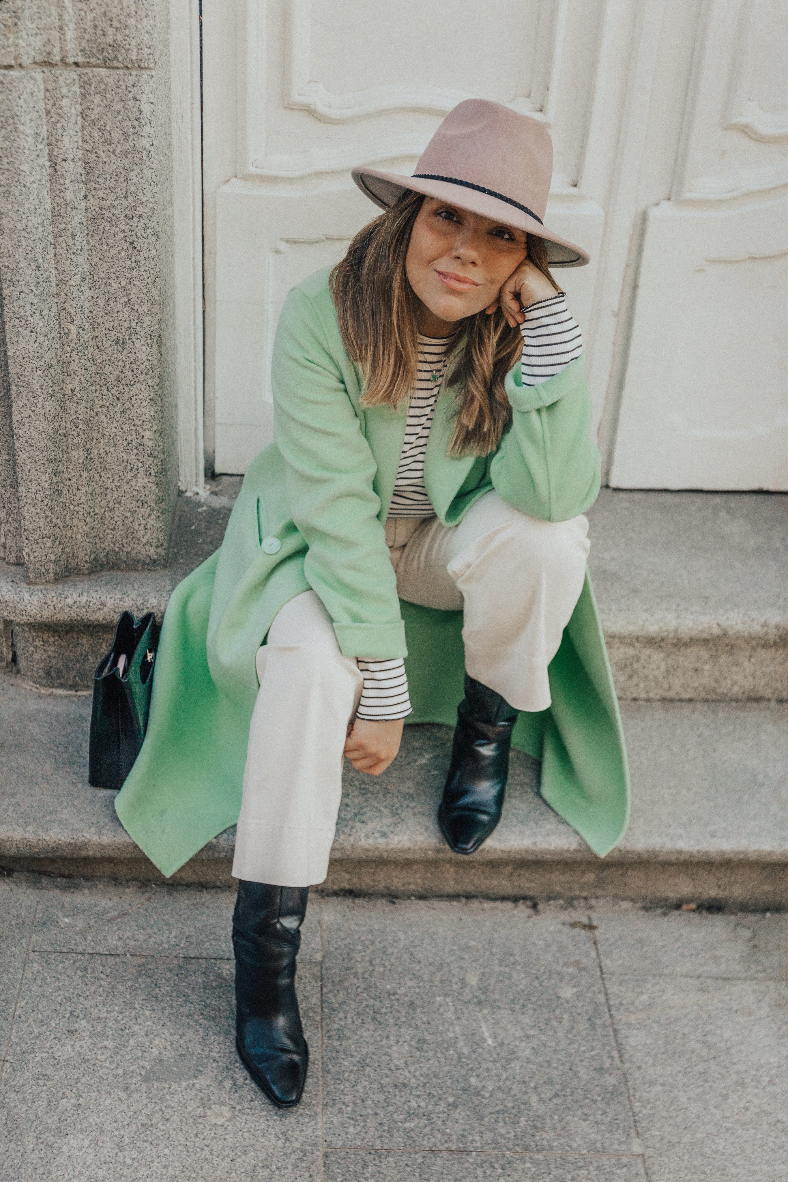 pastel green coat