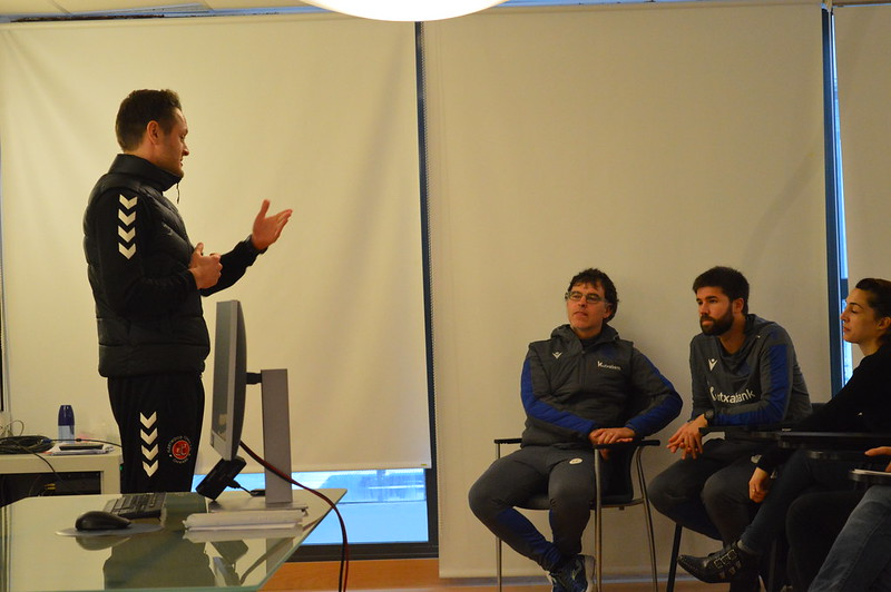 Day 4 | Fleetwood Town Head of Coaching Matt Blinkhorn introduces himself to Real Sociedad staff