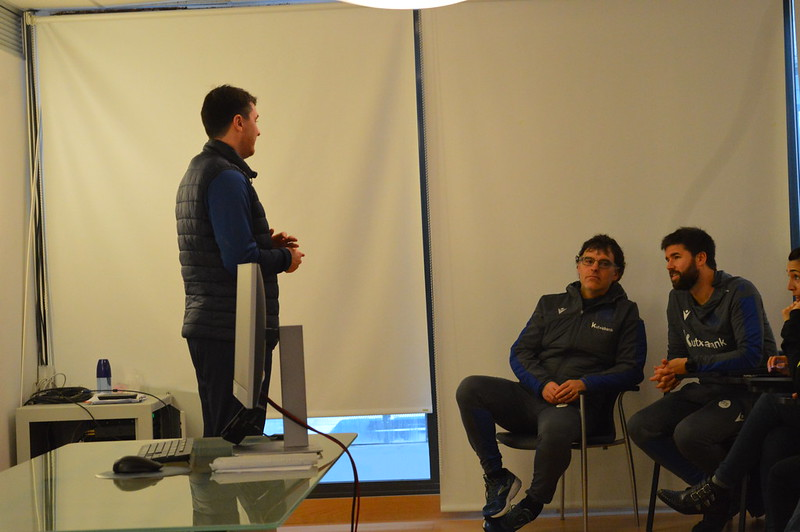 Day 4 | Wigan Athletic U18s Head Coach Peter Murphy introduces himself to Real Sociedad staff