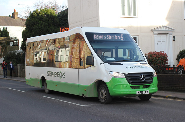 Stephensons. Rochford , Essex . 302 KF19LCV . Dunmow Road , Bishop's Stortford , Hertfordshire . Tuesday afternoon 10th-March-2020 .