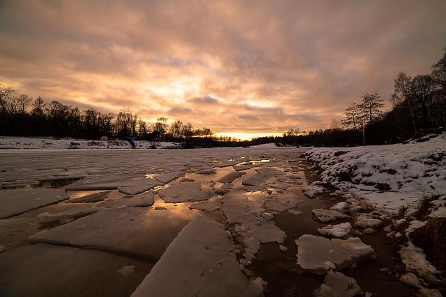 Winter Sunset on the Pond