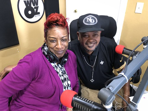 Monica Landry and Action Jackson on the air at WWOZ - March 10,  2020. Photo by Carrie Booher.