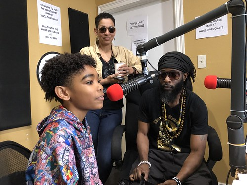 Kid Chocolate and his son Deuce on air at WWOZ - March 10,  2020. Photo by Carrie Booher.