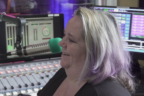 Leslie Cooper on the air - March 10, 2020. Photo by Leona Strassberg Steiner.