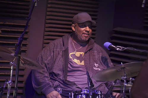 Gerald French with Charmaine Neville at WWOZ - March 10, 2020. Photo by Leona Strassberg Steiner.