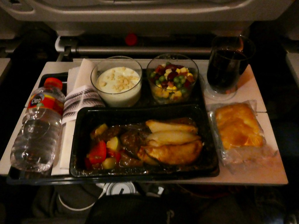 Qatar Airways meal between Bali and Doha