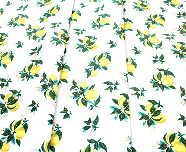 COTTON+STEEL Primavera RP301-LE3M Citrus Blossom Lemon Metallic