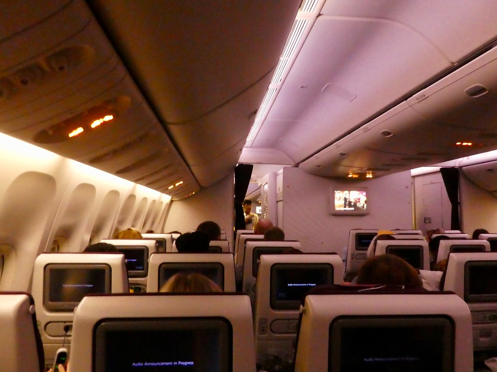 Qatar Airways 777-300ER airliner cabin