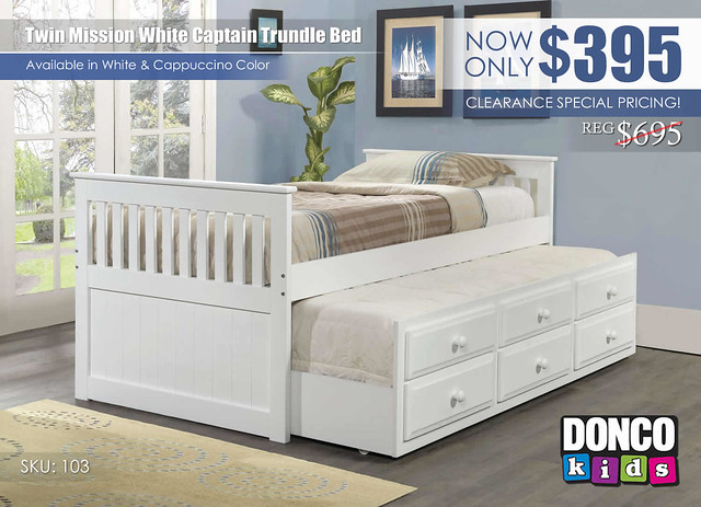 Twin Mission White Captain Trundle Bed_103