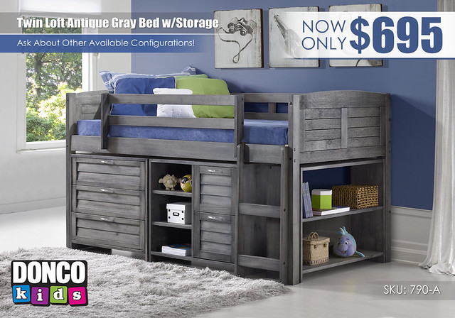 Antique Gray Loft Twin Storage Configuration A_Donco Kids_790