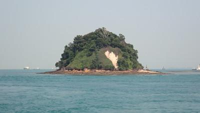 Pulau Jong with signs of recent landslide