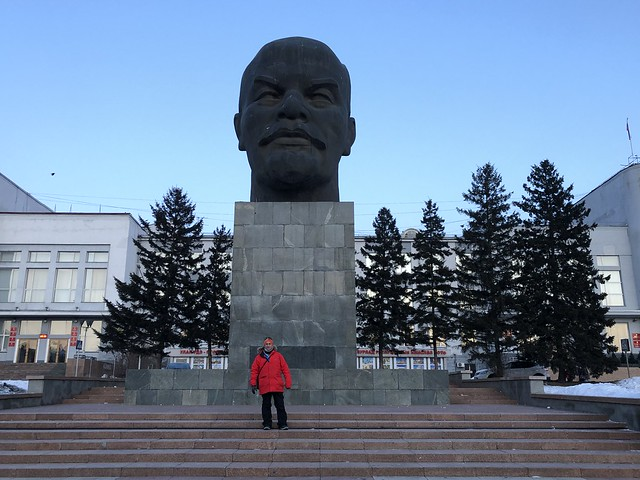 Sele en la cabeza de Lenin de Ulán-Udé (Siberia, Rusia)
